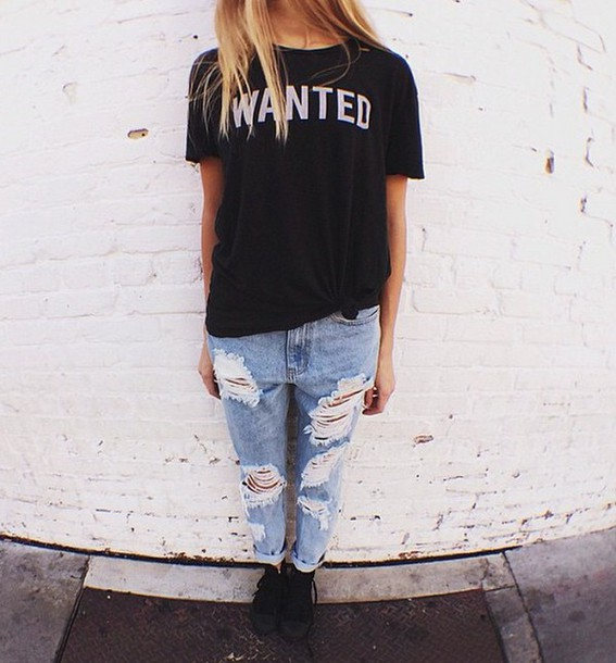 shirt black wanted print black t-shirt t-shirt wanted t-shirt jeans ripped jeans