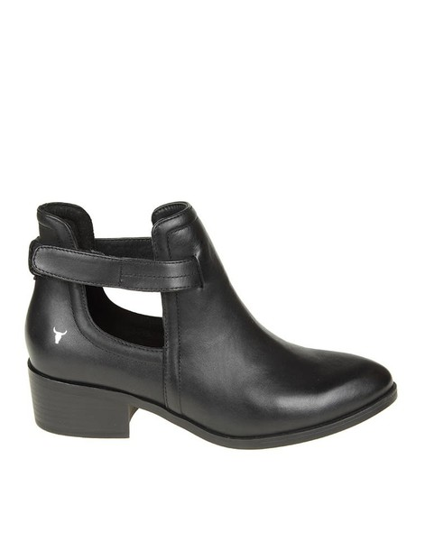 boot leather black black leather shoes