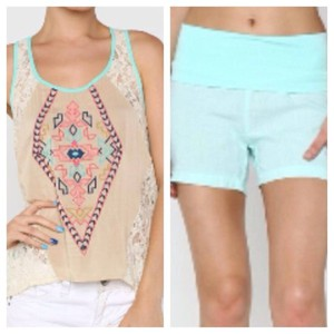 blouse aztec print tank tops spring trends 2014 clothing boutique mint aqua linen shorts😚✊💕😍