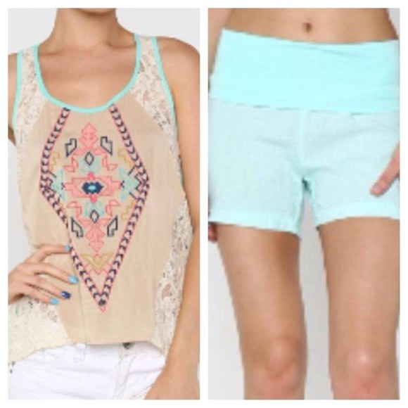 aztec print blouse tank tops spring trends 2014 mint aqua linen clothing boutique shorts😚✊💕😍