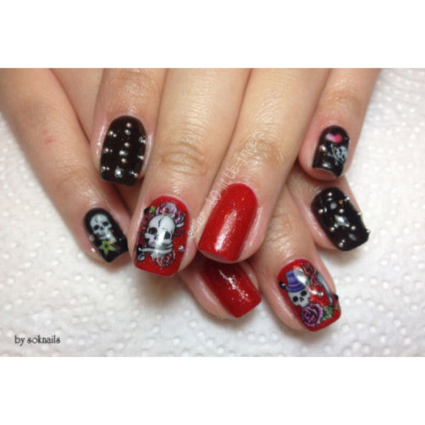nail accessories decoration nails nails art stickers decals skull rock heart roses manicure hot