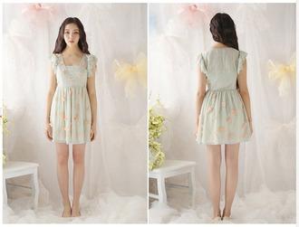 dress kawaii cute cute dress cute outfits princess kawaii dress vintage pin up vintage dress mint dress mint pale gyaru fairy kei