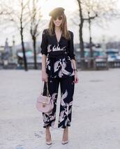 pants,printed pants,tumblr,cropped pants,pumps,pointed toe pumps,high heel pumps,pink heels,bag,pink bag,chain bag,shirt,kimono,sunglasses,belt,waist belt,spring outfits