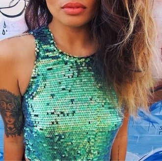 shirt sequins green teal turquoise mermaid top tank top