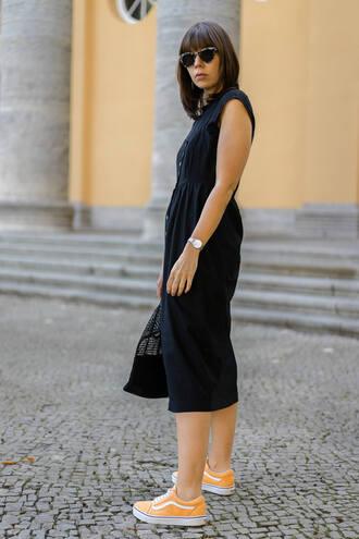 dress vans tumblr midi dress black midi dress black dress sneakers low top sneakers sunglasses shoes t-shirt