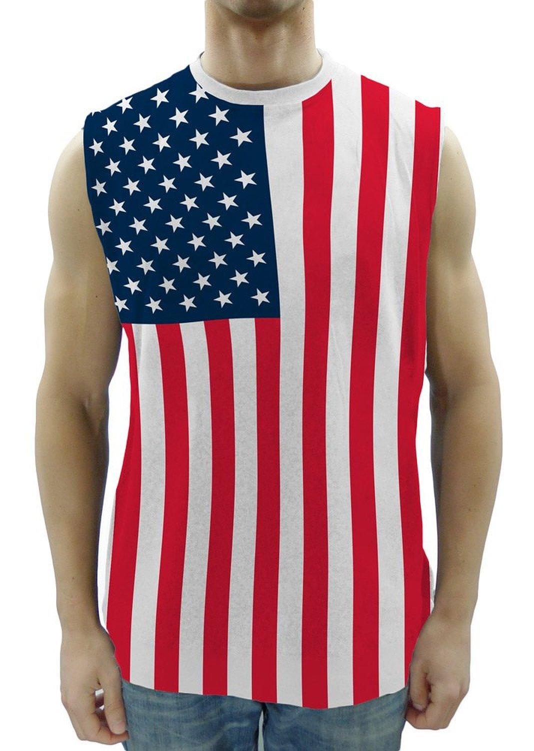0822904877ef80 Amazon.com  USA American Flag Sleeveless Adult T-Shirt Muscle Tank