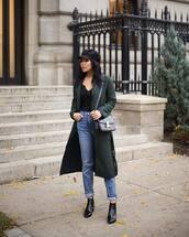 coat,tumblr,green coat,hat,fisherman cap,denim,jeans,blue jeans,boots,ankle boots,bag,black bag