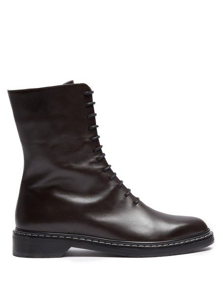 The Row leather boots lace leather dark brown shoes