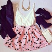 skirt,birds,cute,cute outfits,blouse,coat,bag,bird skirt,leather jacket,jacket,clothes,pink,skater skirt,tank top,crop tops,gold necklace,shoes,dress,high heels,handbag,jewels,white top,white,black jacket,black shoes,leather,pattern,necklace,prom dress,casual dress,hipster,hipster skirt,swag,vintage,bird print,cute fashion,cute dress,old pink,black,white dress,pink dress,gold,vest,accessories,fashion,stylish,elegant,cute skirt,pink skirt,pink black skirt bird,high waisted skirt,bird print on bottom,short,birds shirt,top,summer outfits,shirt,underwear,t-shirt,heels,sweet,summer,style,lovely dress,flowy,white wrap top ,platform high heels,hair accessory,forever 21 skirt,blue birds,blazer,blue,summer top,jupe,rose,oiseaux,ankle boots,high heels boots