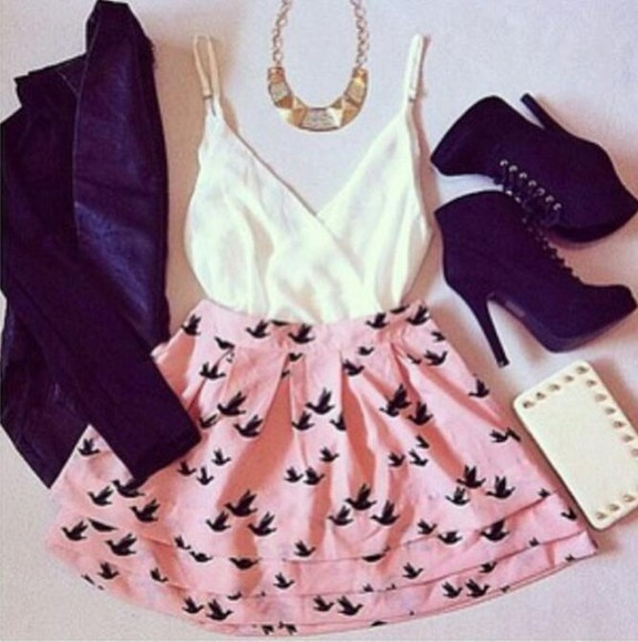 skirt birds cute cute outfit blouse coat bag bird skirt leather jacket jacket clothes bird pink skater skirt tank top crop tops gold necklace shoes shirt pink skirt flying birds