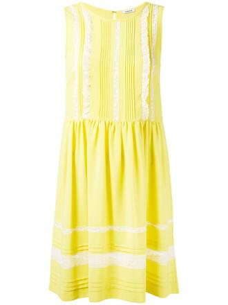 dress sun sleeveless women cotton silk yellow orange