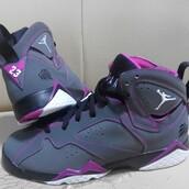 shoes,air jordans 7,jordan,grey,white,pink,black