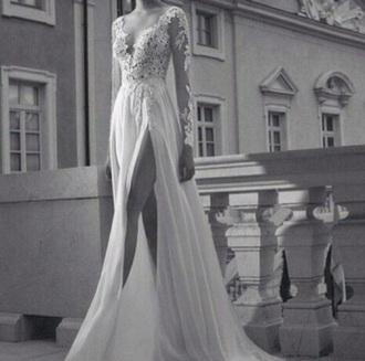 dress lace sleeves white long dress lace dress wedding dress prom dress flowy dress floor length dress long sleeves