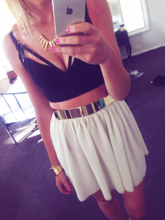 skirt white fashion tank top top black necklace pink nails iphone bracelets gold love chic like cute