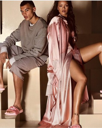 top dress dusty pink robe slide shoes pink shoes silk all pink everything rihanna nightwear cardigan puma pink coat pink satin beachrobe advertisment ad bathrobe dressing gown housecoat slip dress pink satin