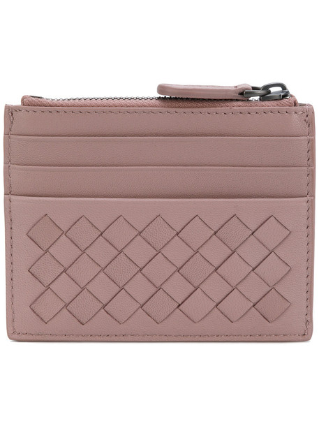 Bottega Veneta - woven zip purse - women - Lamb Skin - One Size, Pink/Purple, Lamb Skin