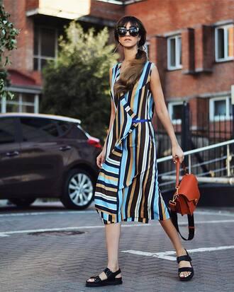 shoes dress stripes midi dress bag brown bag sandals flat sandals black sandals