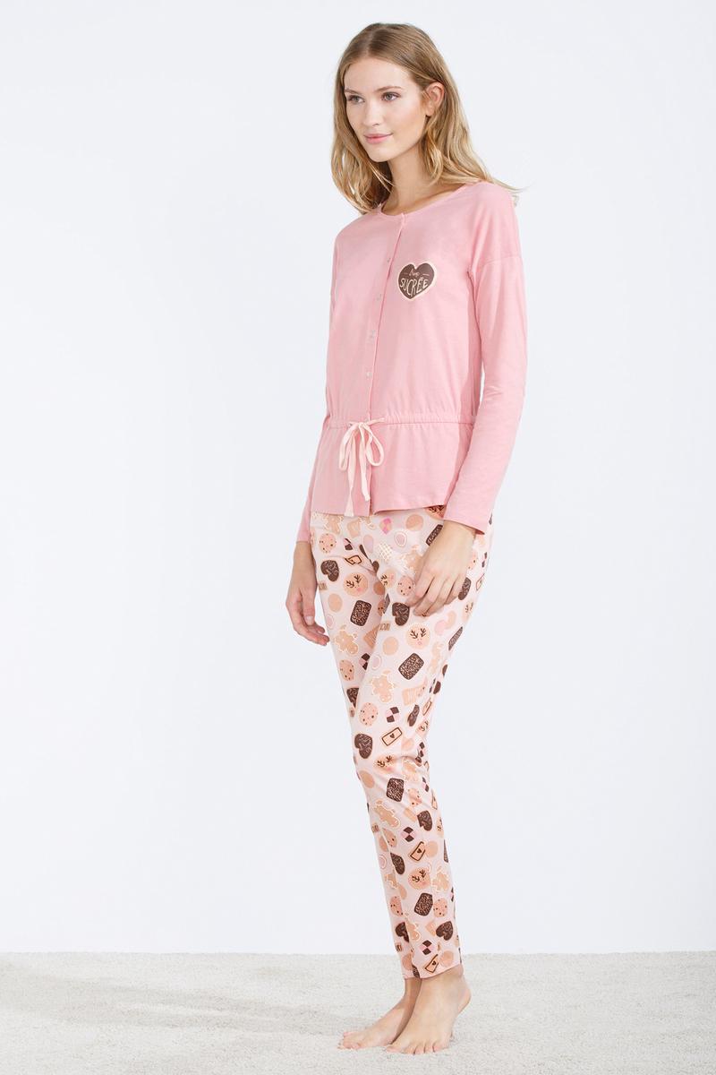 Pijama largo de algodón con volantes