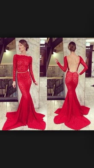 dress red prom dresses lace dress