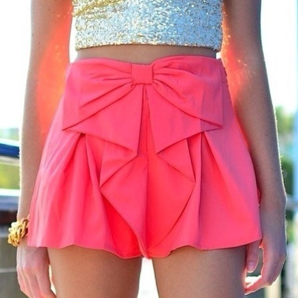 skirt pink ribbon shorts bow pink shorts cute bows hot pink top silver shiny croptop