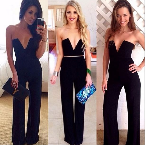 New ladies sexy black party celeb towie v neck plunge flared playsuit jumpsuit