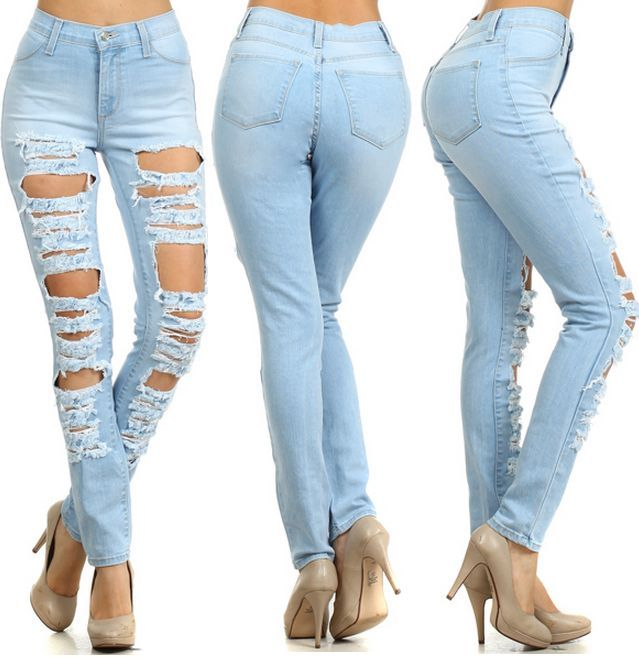 Light Blue Skinny Ripped Jeans | Jeans To