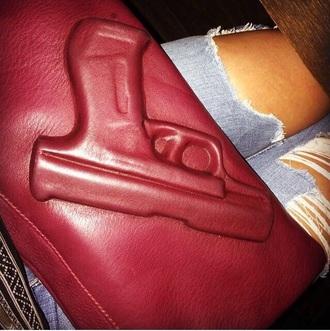 bag maroon gun bag jeans