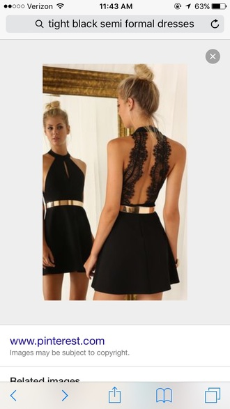 dress black semi formal dress with lace back and gold belt