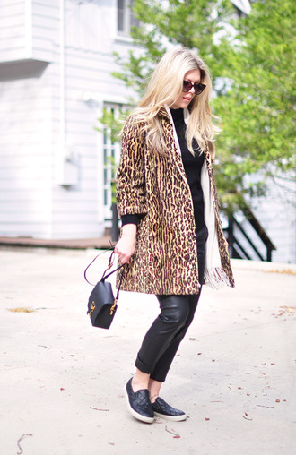 love maegan blogger coat leopard print leather pants vans mini bag