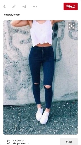 jeans blue ripped skinny jeans tank top