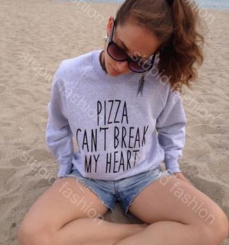sweater sweatshirt jumper pizza cant break my heart pizza funny women sweatshirt heart sweater