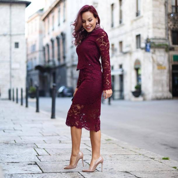276d9df416a5b skirt, tumblr, burgundy, burgundy skirt, burgundy top, lace top ...