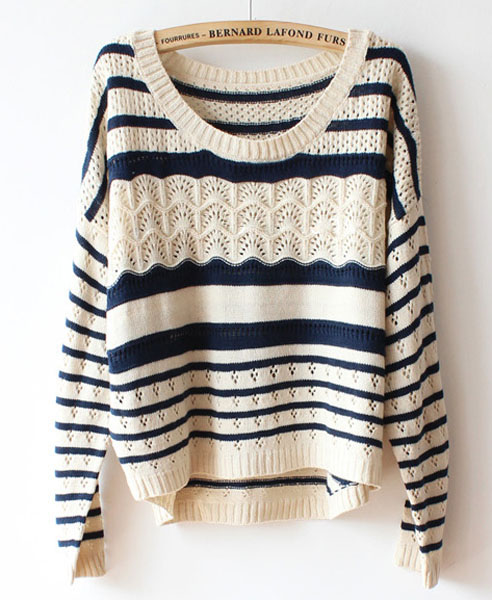 Beige batwing sleeves sweater in stripe print from chicnova · storenvy