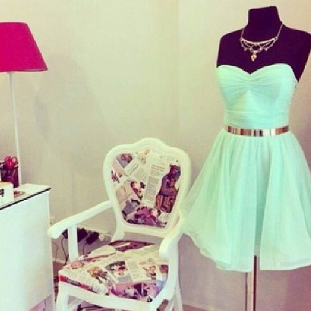 Sweet Mint Green Knee Length Chiffo..