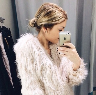 coat fur coat fur faux fur winter coat jacket white