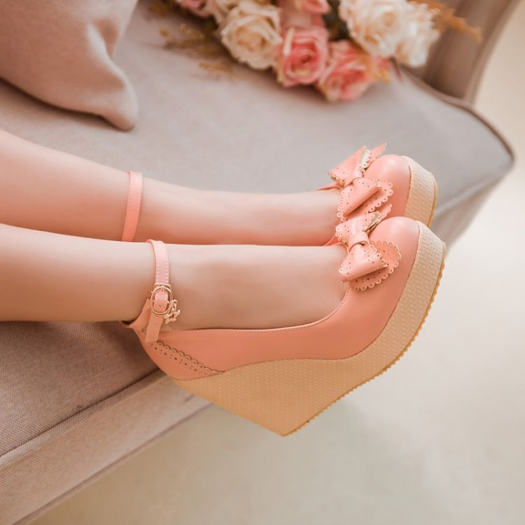 Fashion round toe closed wedges high heel ankle strap pink pu pumps