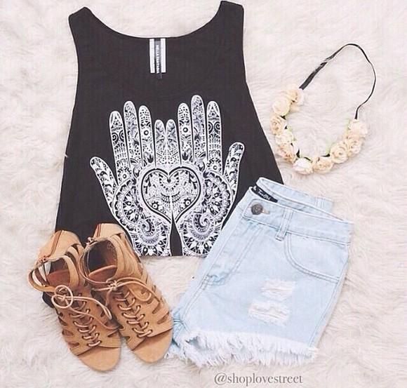 t-shirt black white black shirt fatima hand hipster fashion shoes sandals