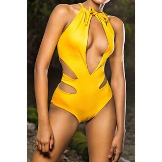 swimwear yellow one piece swimsuit cut-out sexy summer beach hot trendy rose wholesale-feb