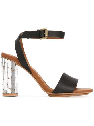 heel metallic women sandals leather black shoes