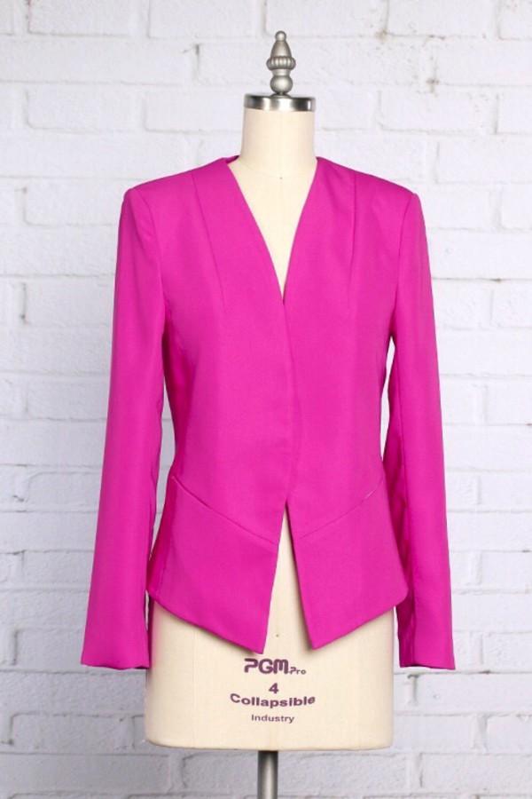 jacket hot pink career neon boyfriend blazer