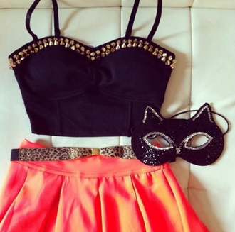 tank top black bralette studded bralette high waisted skirt belt skirt