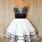 A-line sweetheart white and black short prom dress,homecoming dress - 24prom
