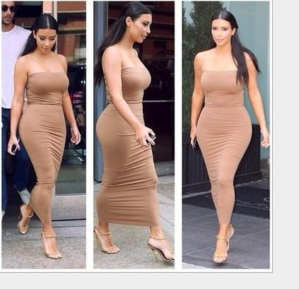 Cute pure color strapless dress brown