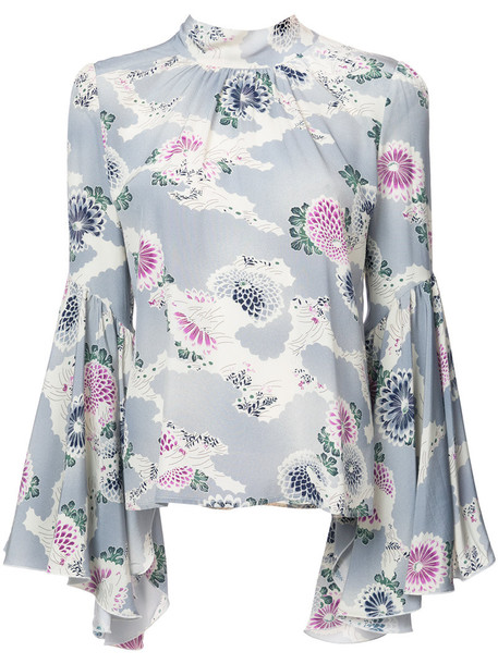 CO blouse flare women floral print blue silk top