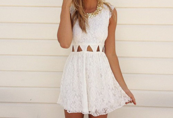 dress cute dress lace dress lace cut offs necklace jewels white beautiful summer gold cute triangles cutout mini dress white dress white lace dress prom dress formal dresses formal party dresses white formal dress wonderful pretty skater dress tumblr girl tumblr instagram