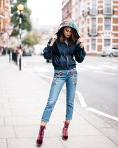 shoes,pink boots,boots,velvet boots,cropped jeans,denim,jeans,blue jeans,embroidered,embroidered jeans,jacket,black jacket,streetstyle