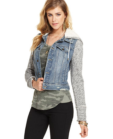 People Jacket, Long-Sleeve Hood Denim - Women - Macy's