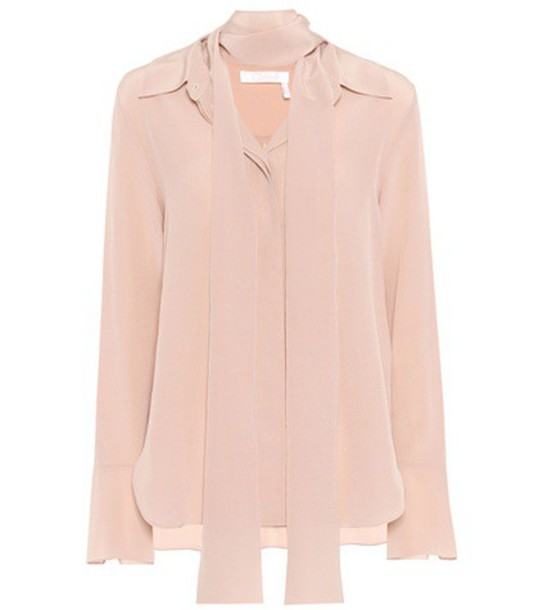 Chloe shirt silk pink top