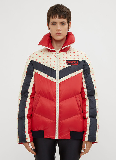 Gucci Floral Stripe Puffer Jacket in Red size IT - 40