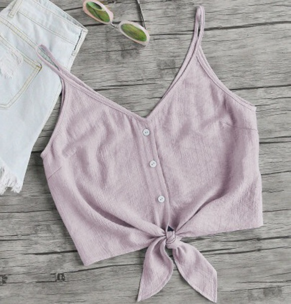 blouse girly crop tops crop cropped v neck button up lilac